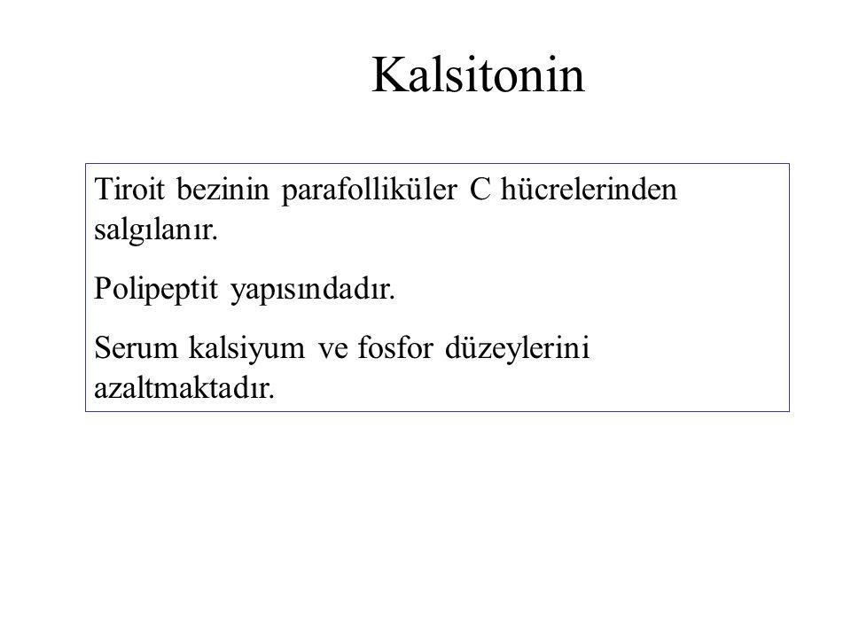 Kalsitonin Tiroit bezinin parafolliküler C hücrelerinden salgılanır.