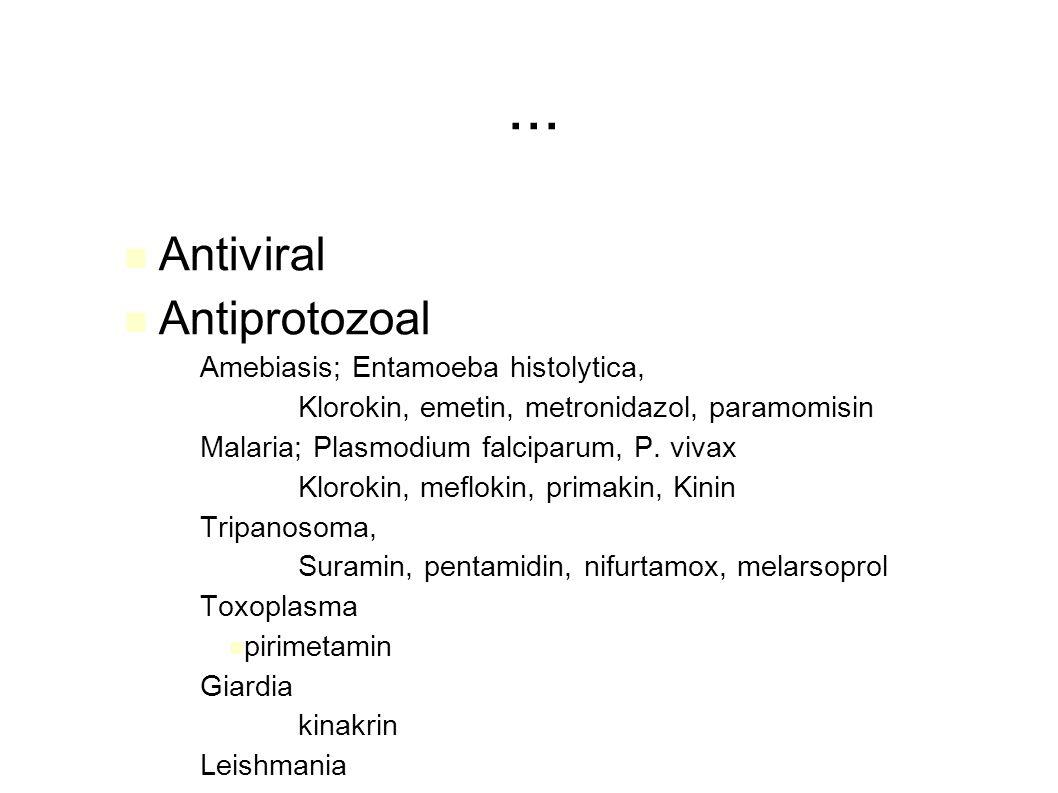 ... Antiviral Antiprotozoal Amebiasis; Entamoeba histolytica,