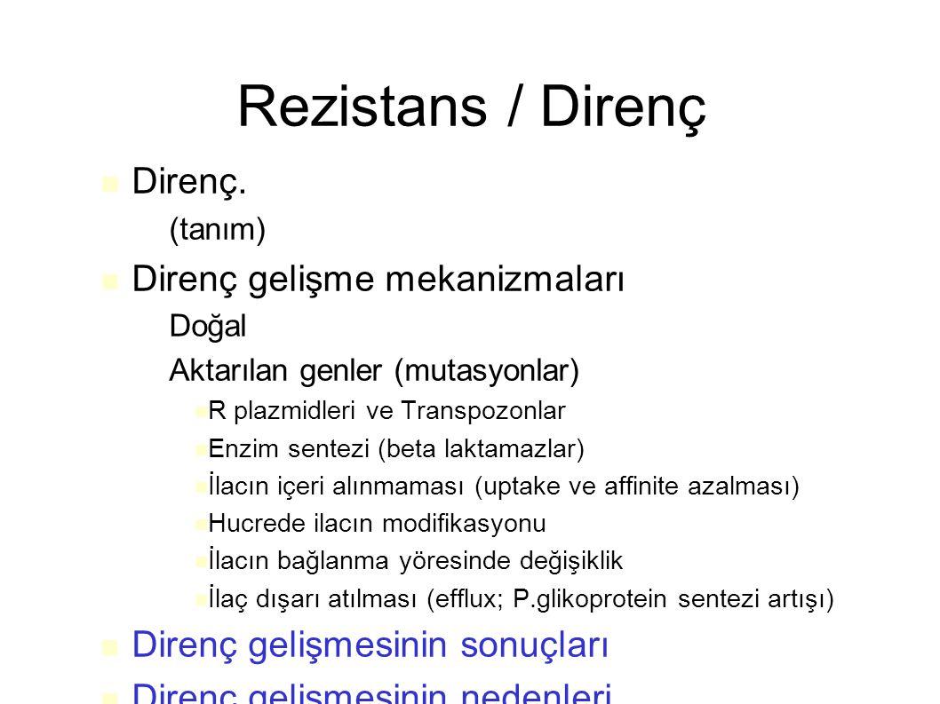 Rezistans / Direnç Direnç. Direnç gelişme mekanizmaları