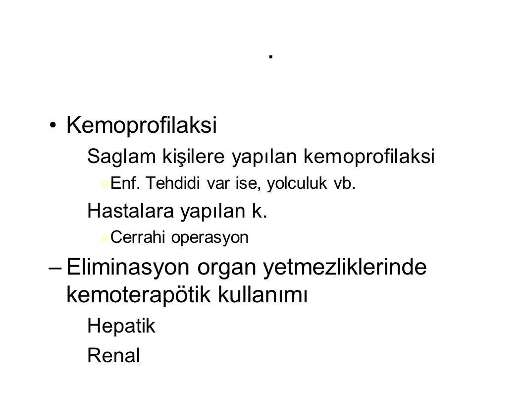 . Kemoprofilaksi. Saglam kişilere yapılan kemoprofilaksi. Enf. Tehdidi var ise, yolculuk vb. Hastalara yapılan k.