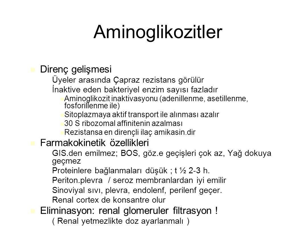 Aminoglikozitler Direnç gelişmesi Farmakokinetik özellikleri
