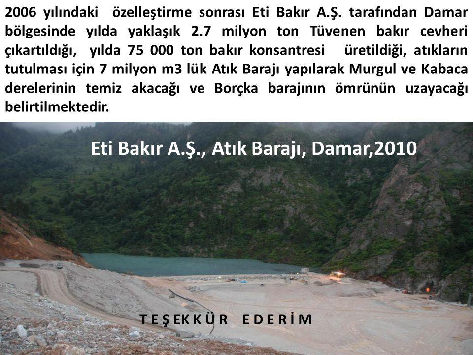 Eti Bakır A.Ş., Atık Barajı, Damar,2010