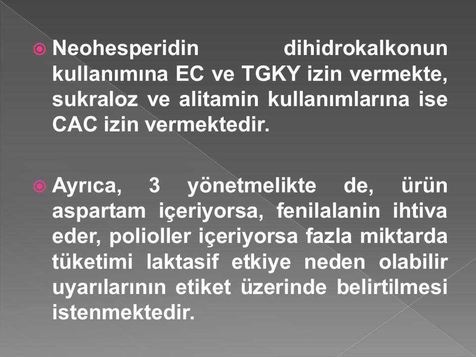 Neohesperidin dihidrokalkonun kullanımına EC ve TGKY izin vermekte, sukraloz ve alitamin kullanımlarına ise CAC izin vermektedir.