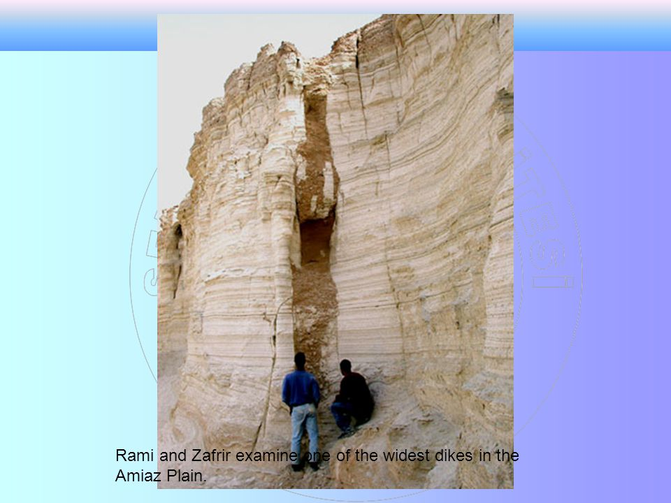 Rami and Zafrir examine one of the widest dikes in the Amiaz Plain.