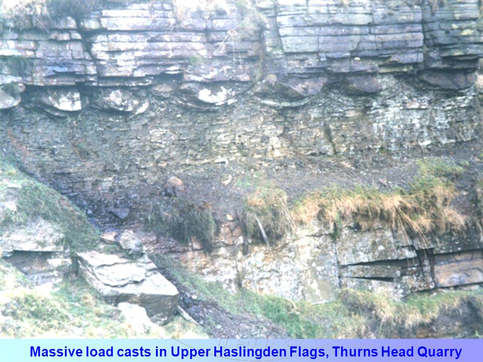 Massive load casts in Upper Haslingden Flags, Thurns Head Quarry