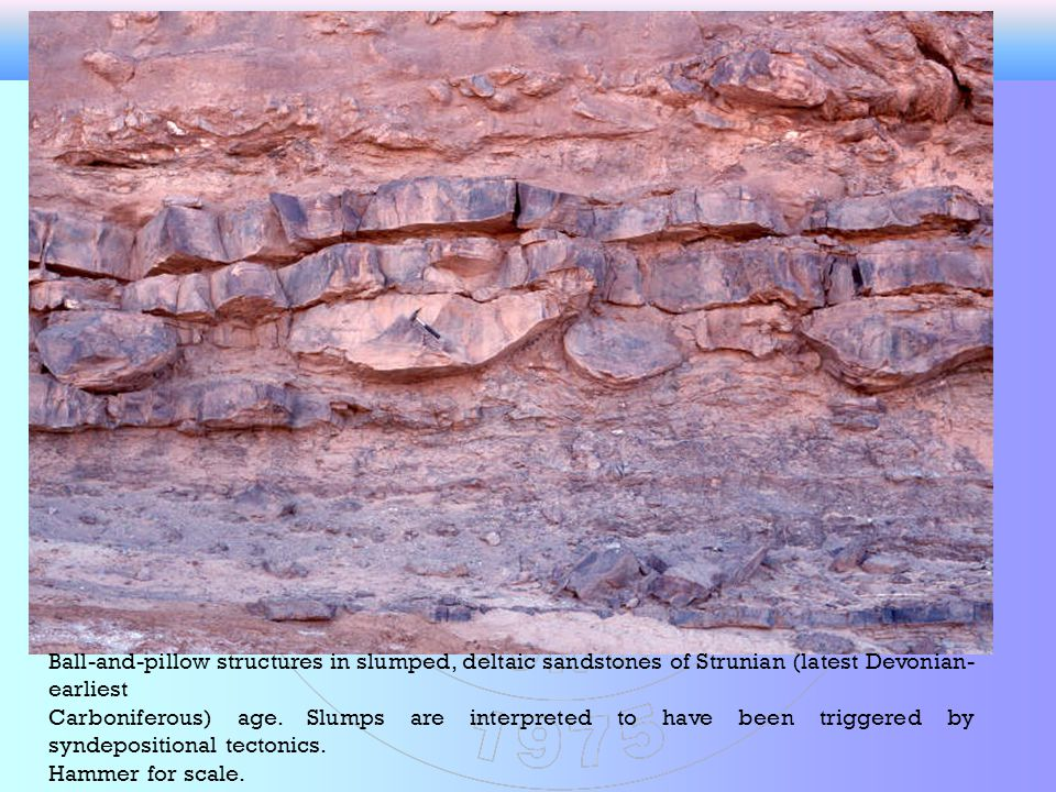 Ball-and-pillow structures in slumped, deltaic sandstones of Strunian (latest Devonian-earliest.