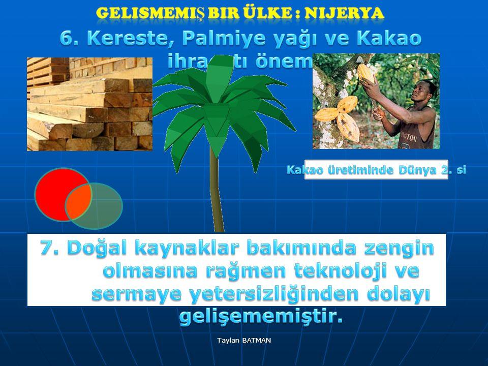 6. Kereste, Palmiye yağı ve Kakao ihracatı önemlidir.