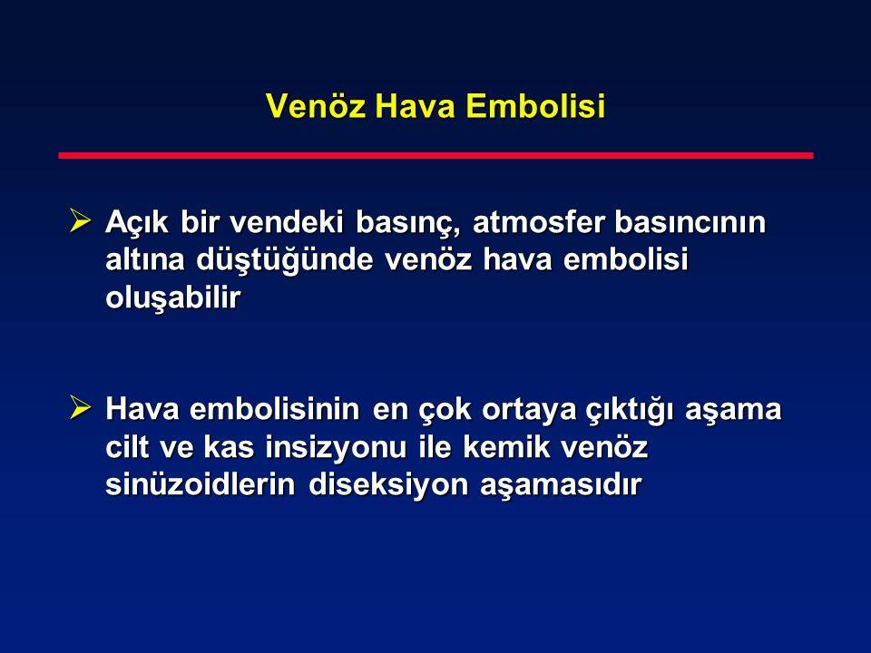 Venöz Hava Embolisi Açık bir vendeki basınç, atmosfer basıncının altına düştüğünde venöz hava embolisi oluşabilir.