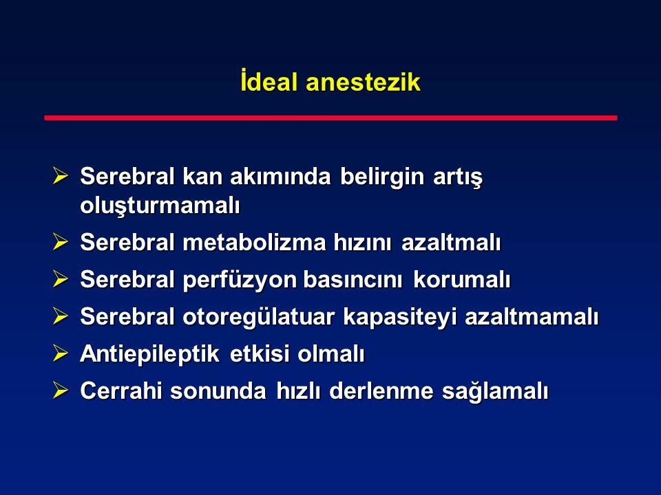 İdeal anestezik Serebral kan akımında belirgin artış oluşturmamalı