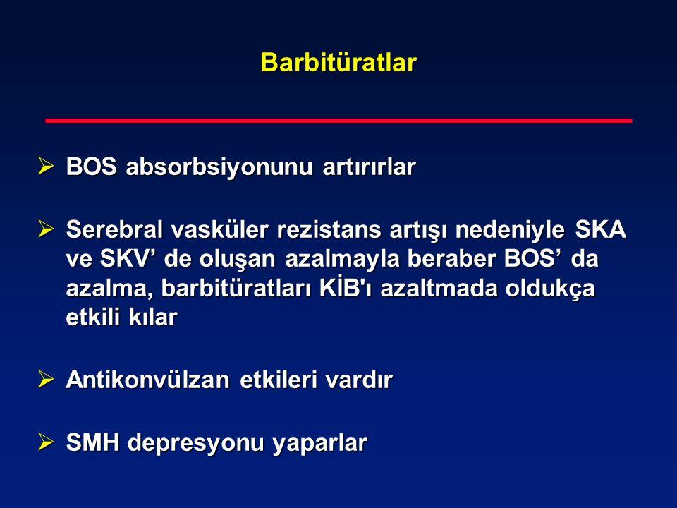 Barbitüratlar BOS absorbsiyonunu artırırlar