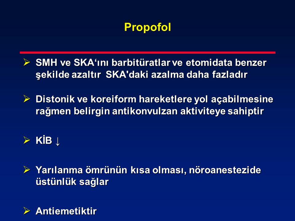 Propofol SMH ve SKA'ını barbitüratlar ve etomidata benzer şekilde azaltır SKA daki azalma daha fazladır.