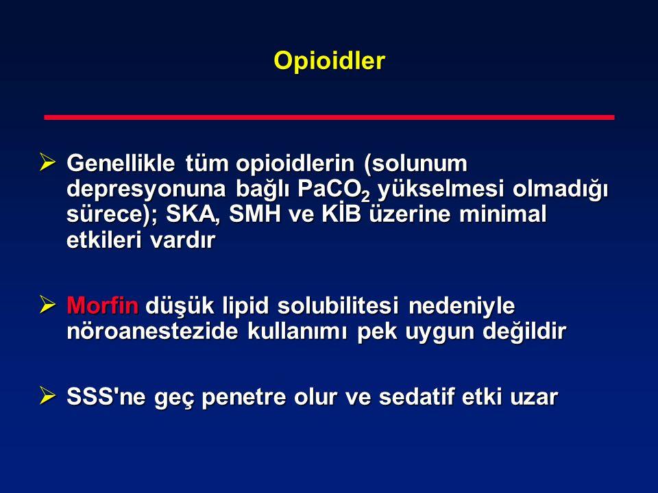 Opioidler Genellikle tüm opioidlerin (solunum depresyonuna bağlı PaCO2 yükselmesi olmadığı sürece); SKA, SMH ve KİB üzerine minimal etkileri vardır.