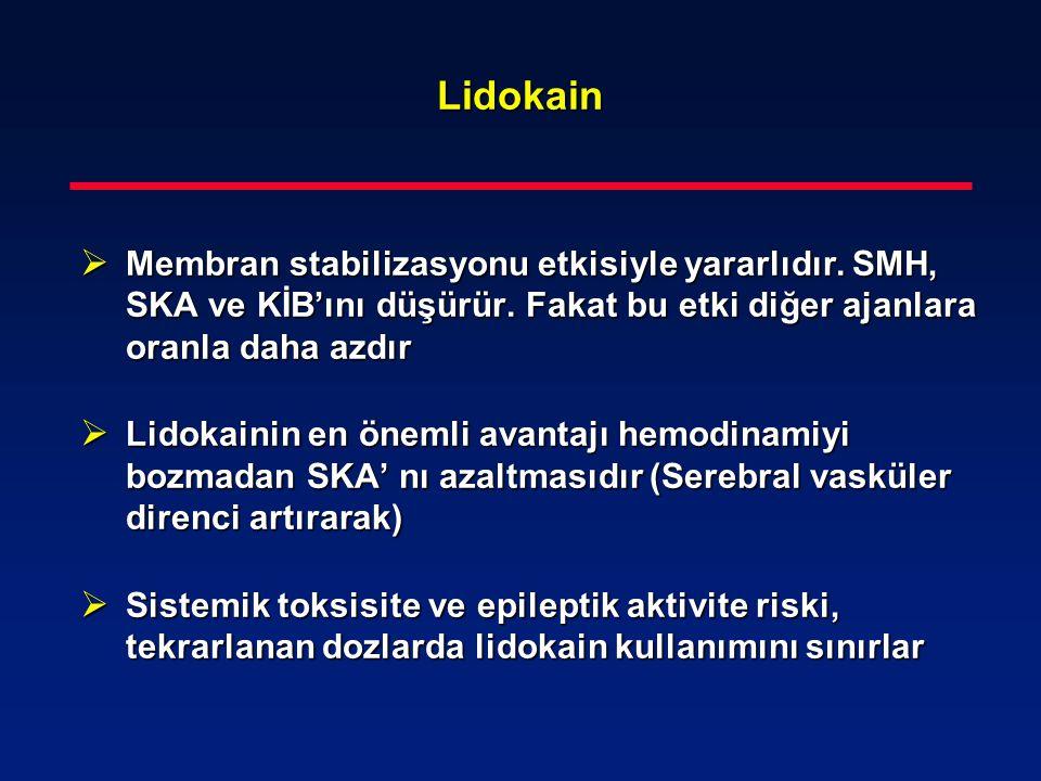 Lidokain Membran stabilizasyonu etkisiyle yararlıdır. SMH, SKA ve KİB'ını düşürür. Fakat bu etki diğer ajanlara oranla daha azdır.