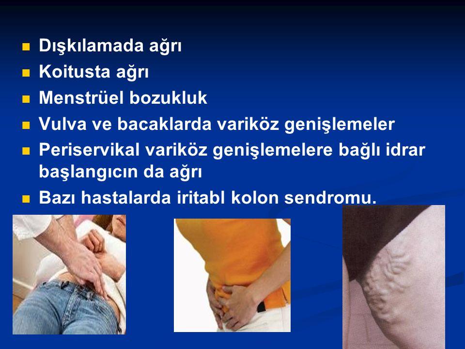 Dışkılamada ağrı Koitusta ağrı. Menstrüel bozukluk. Vulva ve bacaklarda variköz genişlemeler.