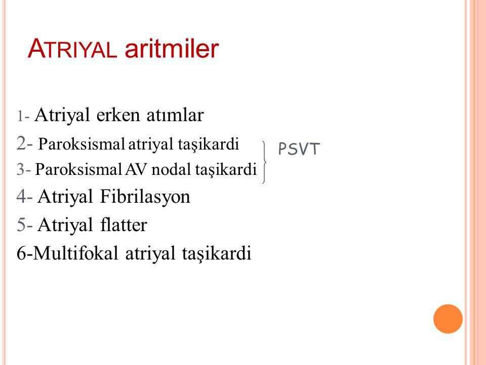 Atriyal aritmiler 2- Paroksismal atriyal taşikardi