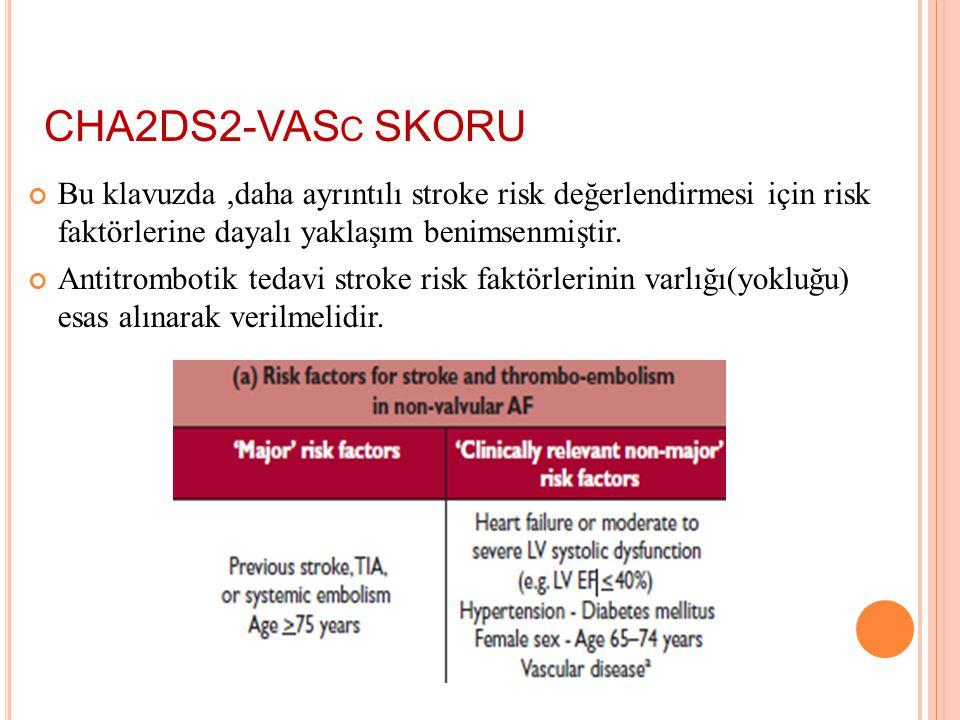 CHA2DS2-VASc SKORU Bu klavuzda ,daha ayrıntılı stroke risk değerlendirmesi için risk faktörlerine dayalı yaklaşım benimsenmiştir.