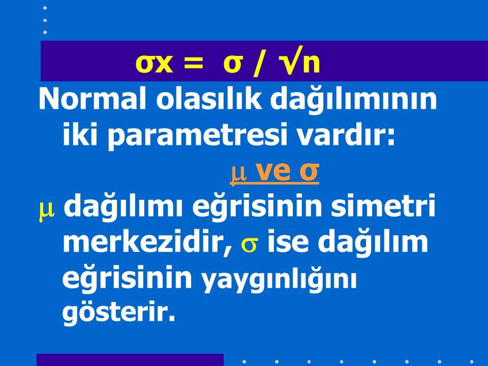 Normal olasılık dağılımının iki parametresi vardır:  ve σ