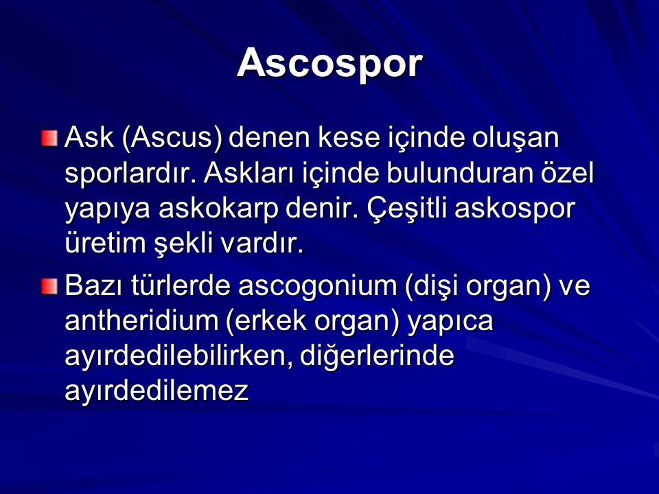 Ascospor Ask (Ascus) denen kese içinde oluşan sporlardır. Askları içinde bulunduran özel yapıya askokarp denir. Çeşitli askospor üretim şekli vardır.