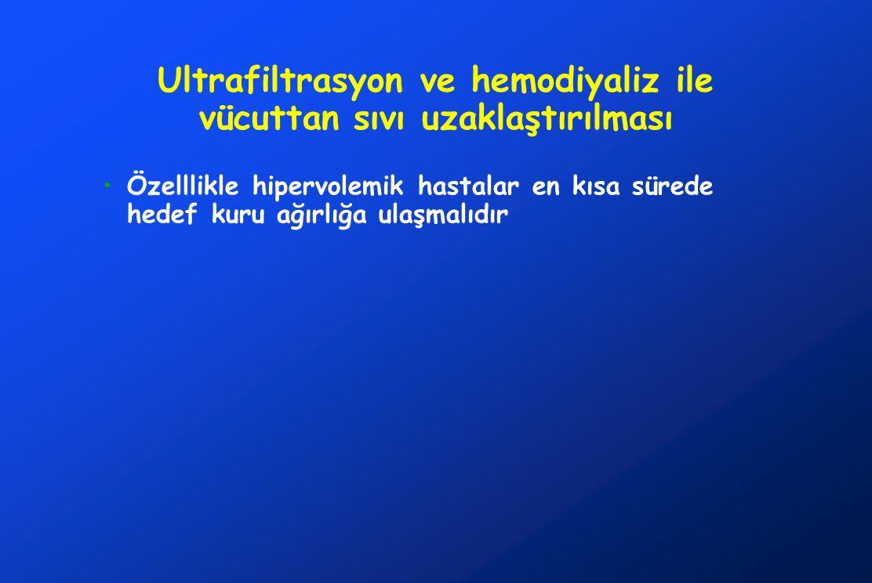 Ultrafiltrasyon ve hemodiyaliz ile vücuttan sıvı uzaklaştırılması