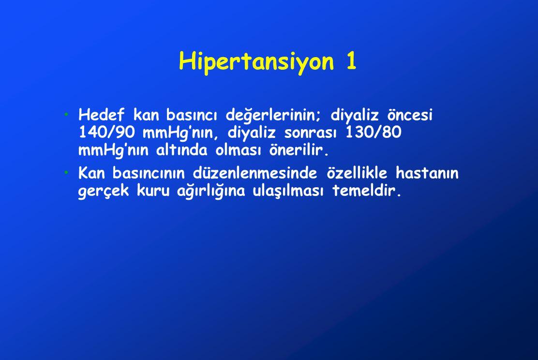 Hipertansiyon 1 Hedef kan basıncı değerlerinin; diyaliz öncesi 140/90 mmHg'nın, diyaliz sonrası 130/80 mmHg'nın altında olması önerilir.