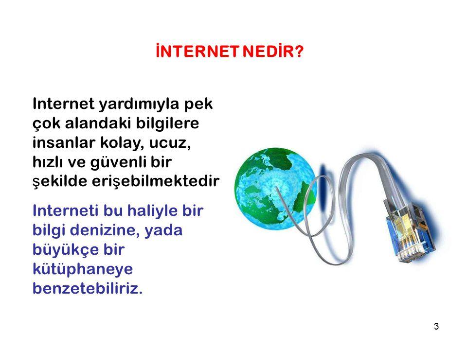 İNTERNET NEDİR Internet yardımıyla pek çok alandaki bilgilere insanlar kolay, ucuz, hızlı ve güvenli bir şekilde erişebilmektedir.