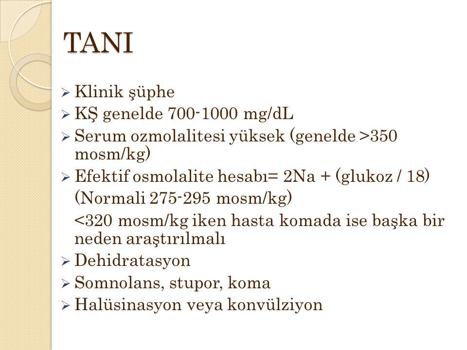 TANI Klinik şüphe KŞ genelde 700-1000 mg/dL