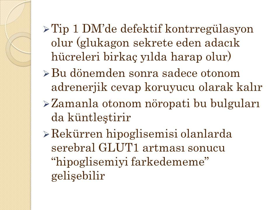 Tip 1 DM'de defektif kontrregülasyon olur (glukagon sekrete eden adacık hücreleri birkaç yılda harap olur)