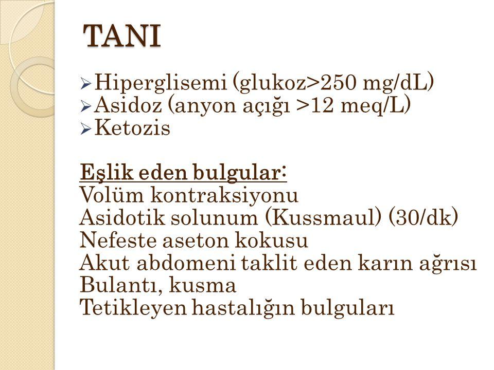 TANI Hiperglisemi (glukoz>250 mg/dL)