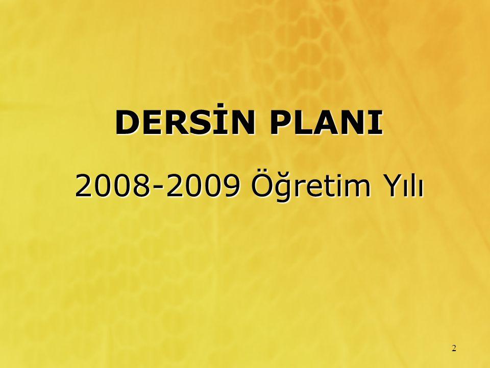 DERSİN PLANI 2008-2009 Öğretim Yılı