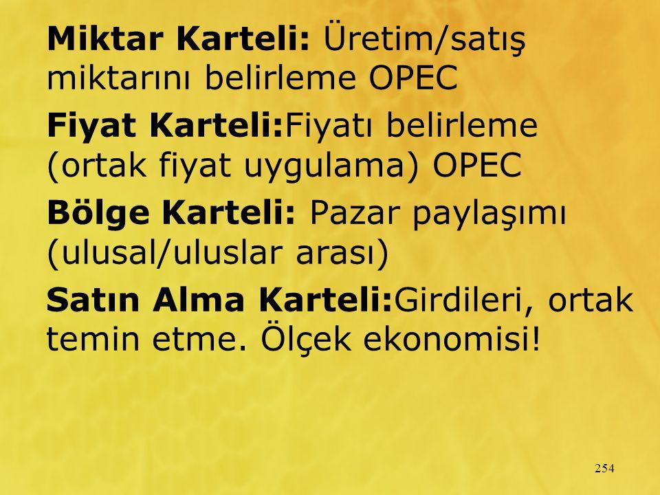 Miktar Karteli: Üretim/satış miktarını belirleme OPEC