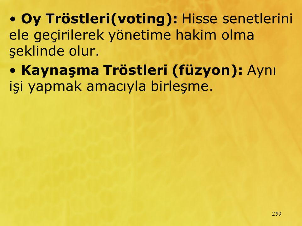 Oy Tröstleri(voting): Hisse senetlerini ele geçirilerek yönetime hakim olma şeklinde olur.