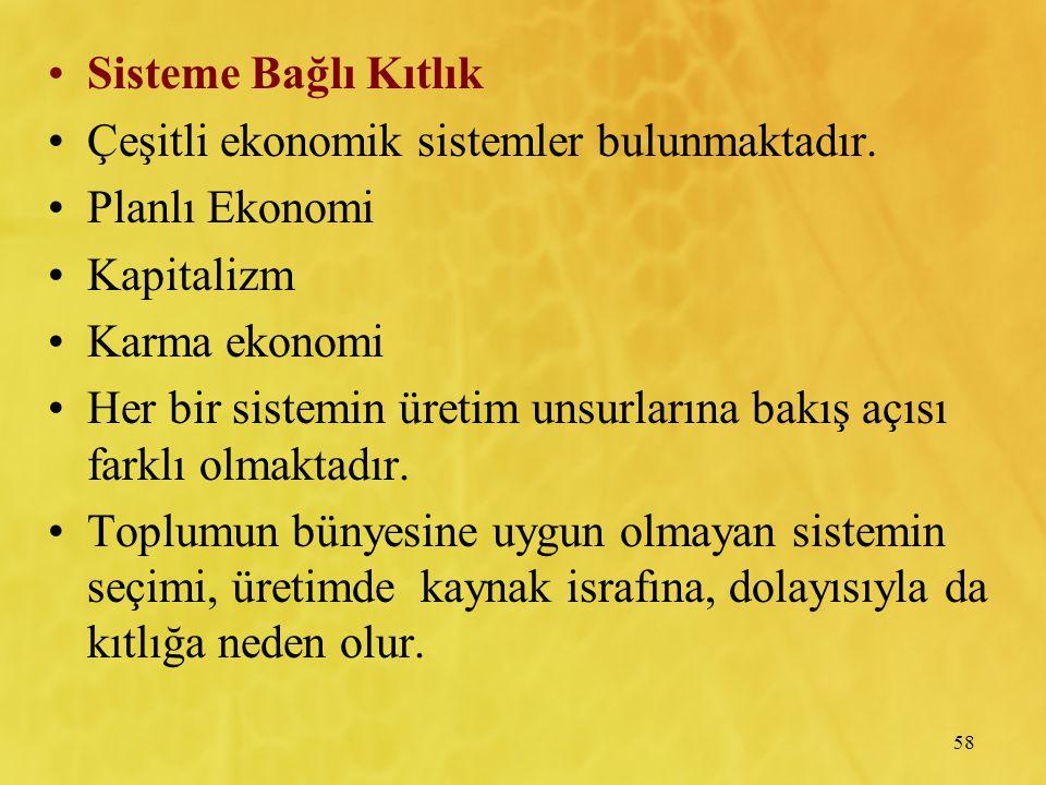 Sisteme Bağlı Kıtlık Çeşitli ekonomik sistemler bulunmaktadır. Planlı Ekonomi. Kapitalizm. Karma ekonomi.