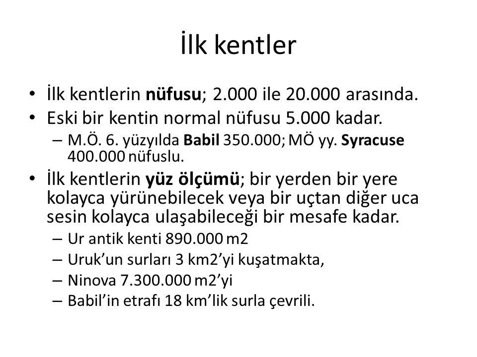 İlk kentler İlk kentlerin nüfusu; 2.000 ile 20.000 arasında.