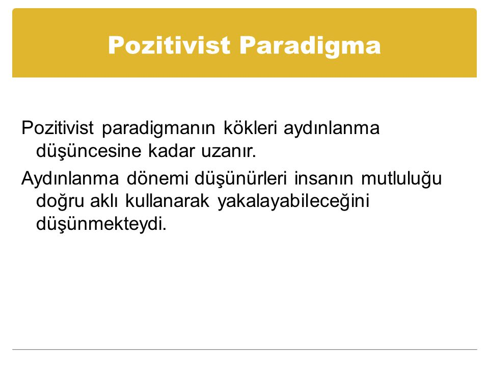Pozitivist Paradigma