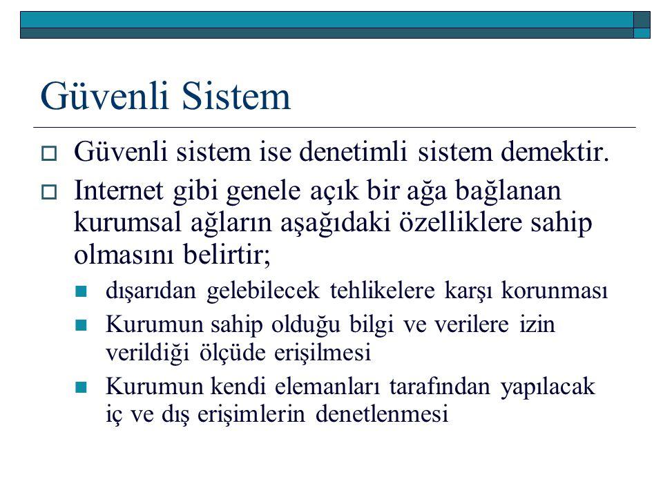 Güvenli Sistem Güvenli sistem ise denetimli sistem demektir.