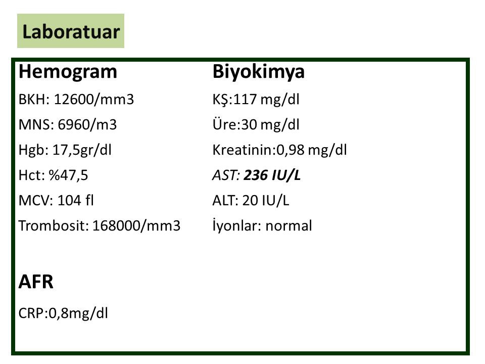 Laboratuar Hemogram Biyokimya AFR BKH: 12600/mm3 KŞ:117 mg/dl