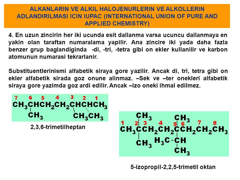 ALKANLARIN VE ALKIL HALOJENURLERIN VE ALKOLLERIN ADLANDIRILMASI ICIN IUPAC (INTERNATIONAL UNION OF PURE AND APPLIED CHEMISTRY)