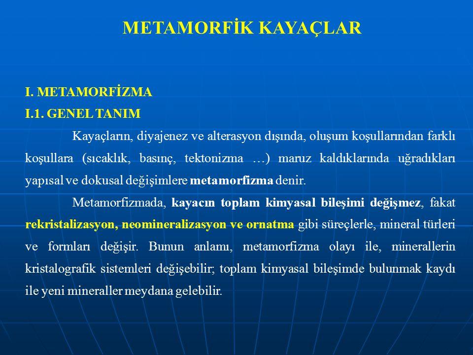 METAMORFİK KAYAÇLAR I. METAMORFİZMA I.1. GENEL TANIM