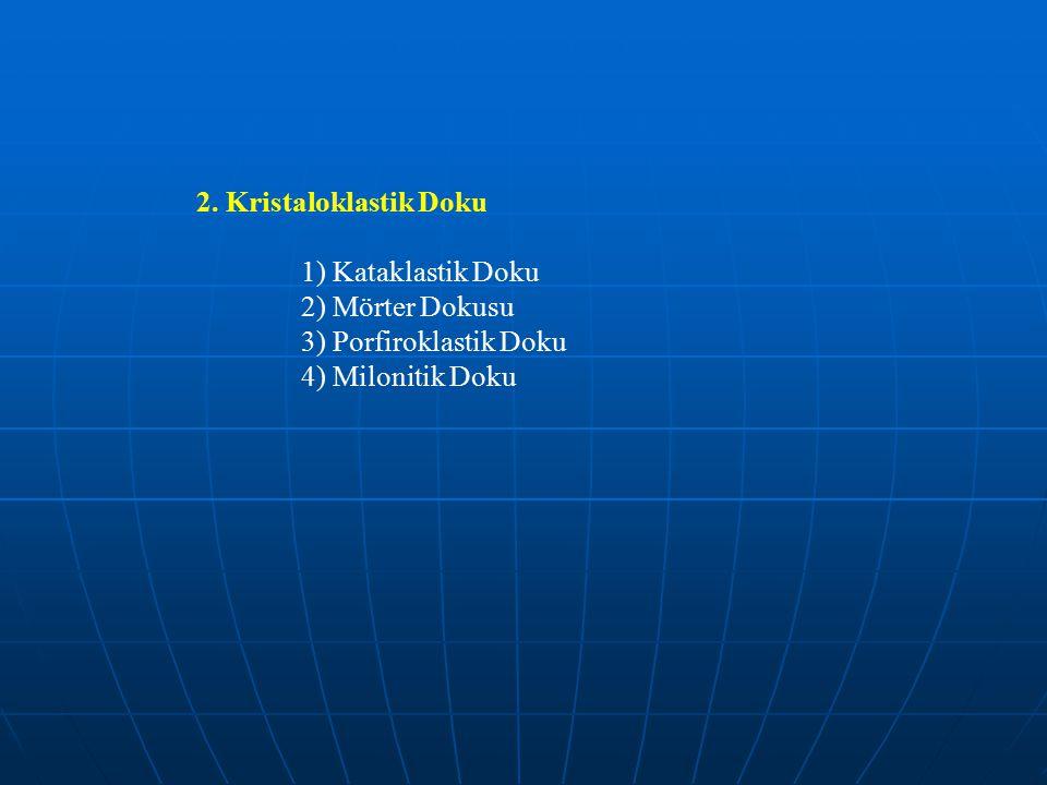 2. Kristaloklastik Doku 1) Kataklastik Doku. 2) Mörter Dokusu.