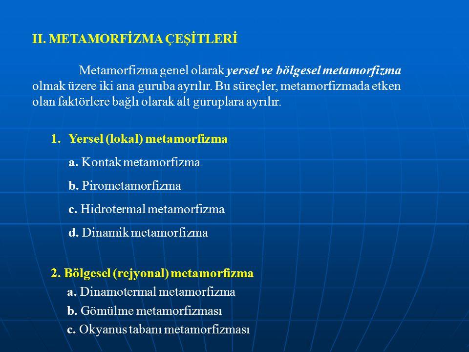 II. METAMORFİZMA ÇEŞİTLERİ