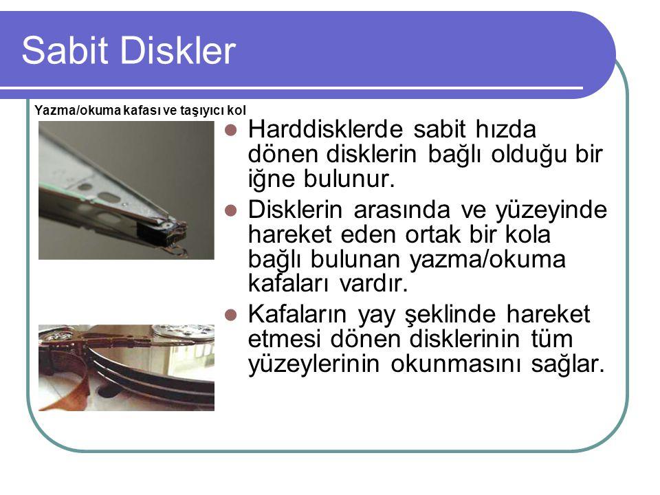 Sabit Diskler Yazma/okuma kafası ve taşıyıcı kol. Harddisklerde sabit hızda dönen disklerin bağlı olduğu bir iğne bulunur.
