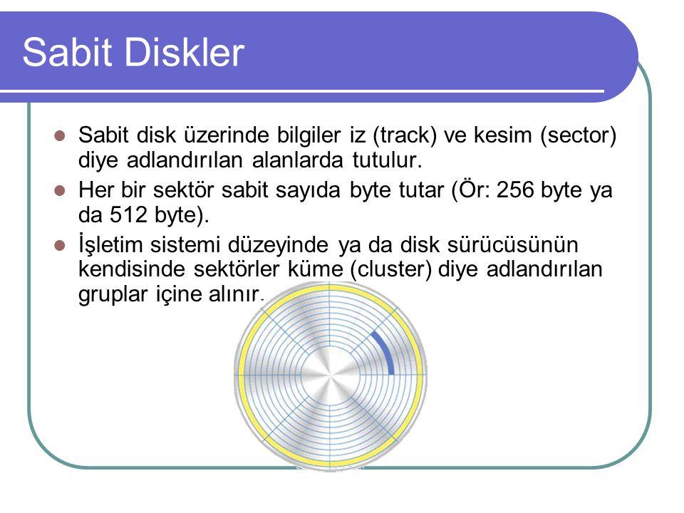 Sabit Diskler Sabit disk üzerinde bilgiler iz (track) ve kesim (sector) diye adlandırılan alanlarda tutulur.
