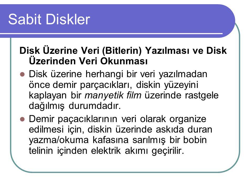 Sabit Diskler Disk Üzerine Veri (Bitlerin) Yazılması ve Disk Üzerinden Veri Okunması.