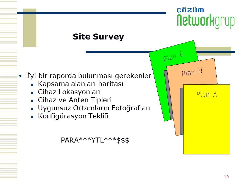 Site Survey İyi bir raporda bulunması gerekenler :