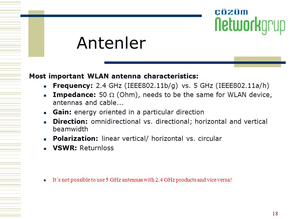 Antenler Most important WLAN antenna characteristics: