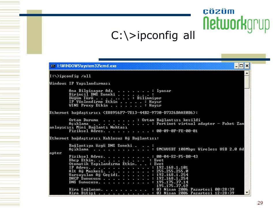 C:\>ipconfig all