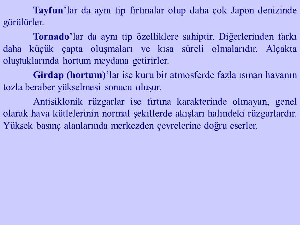 Tayfun'lar da aynı tip fırtınalar olup daha çok Japon denizinde görülürler.
