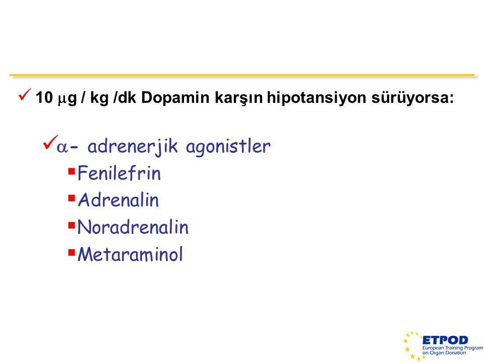 - adrenerjik agonistler Fenilefrin Adrenalin Noradrenalin Metaraminol