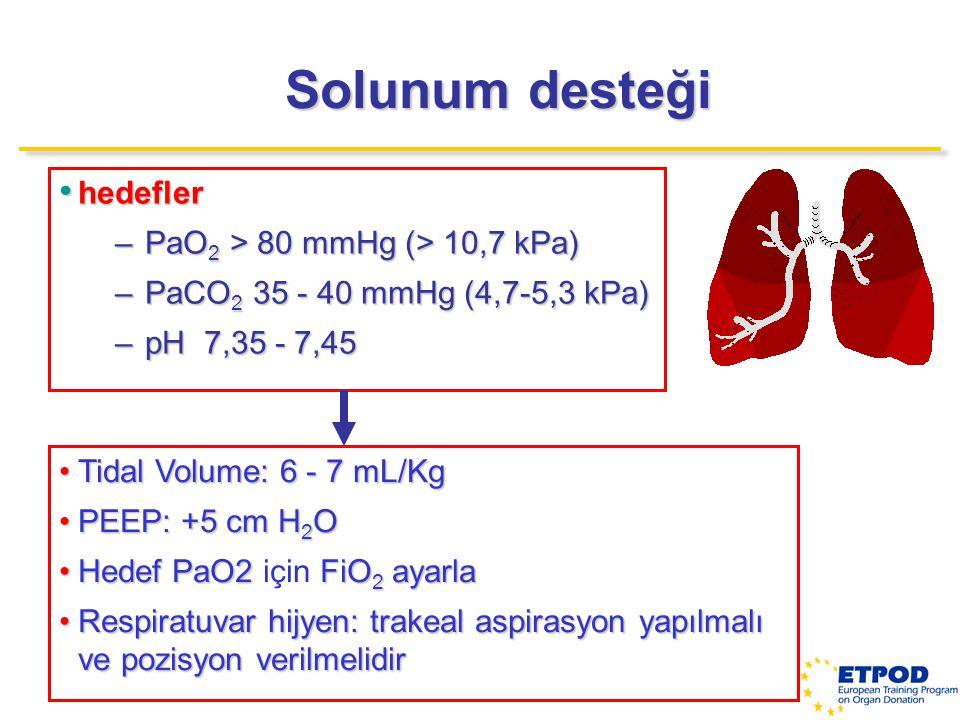 Solunum desteği hedefler PaO2 > 80 mmHg (> 10,7 kPa)