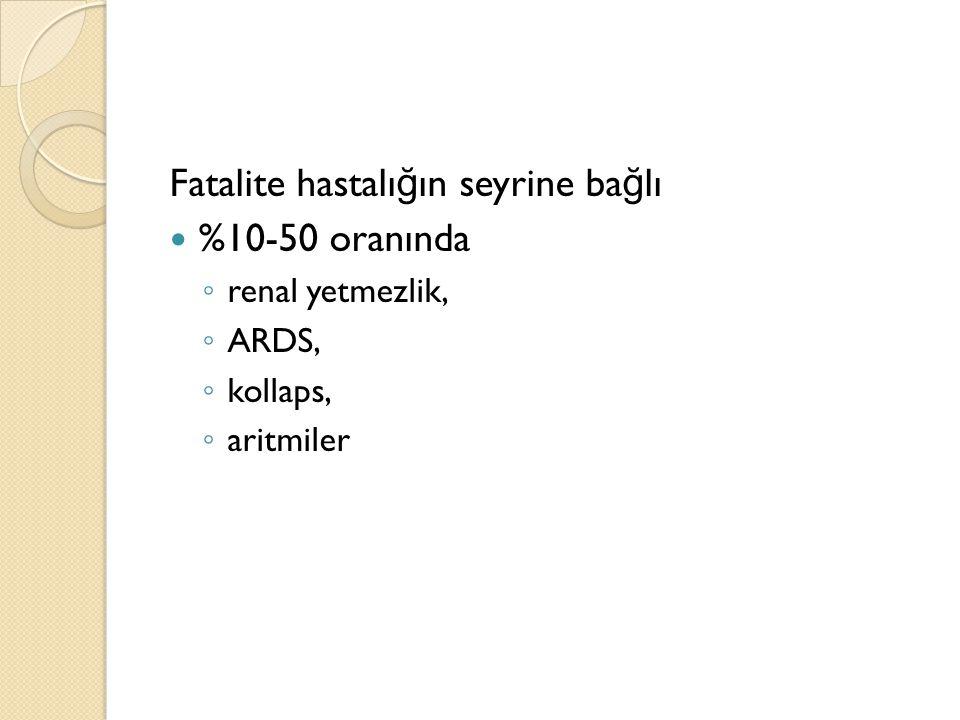 Fatalite hastalığın seyrine bağlı %10-50 oranında